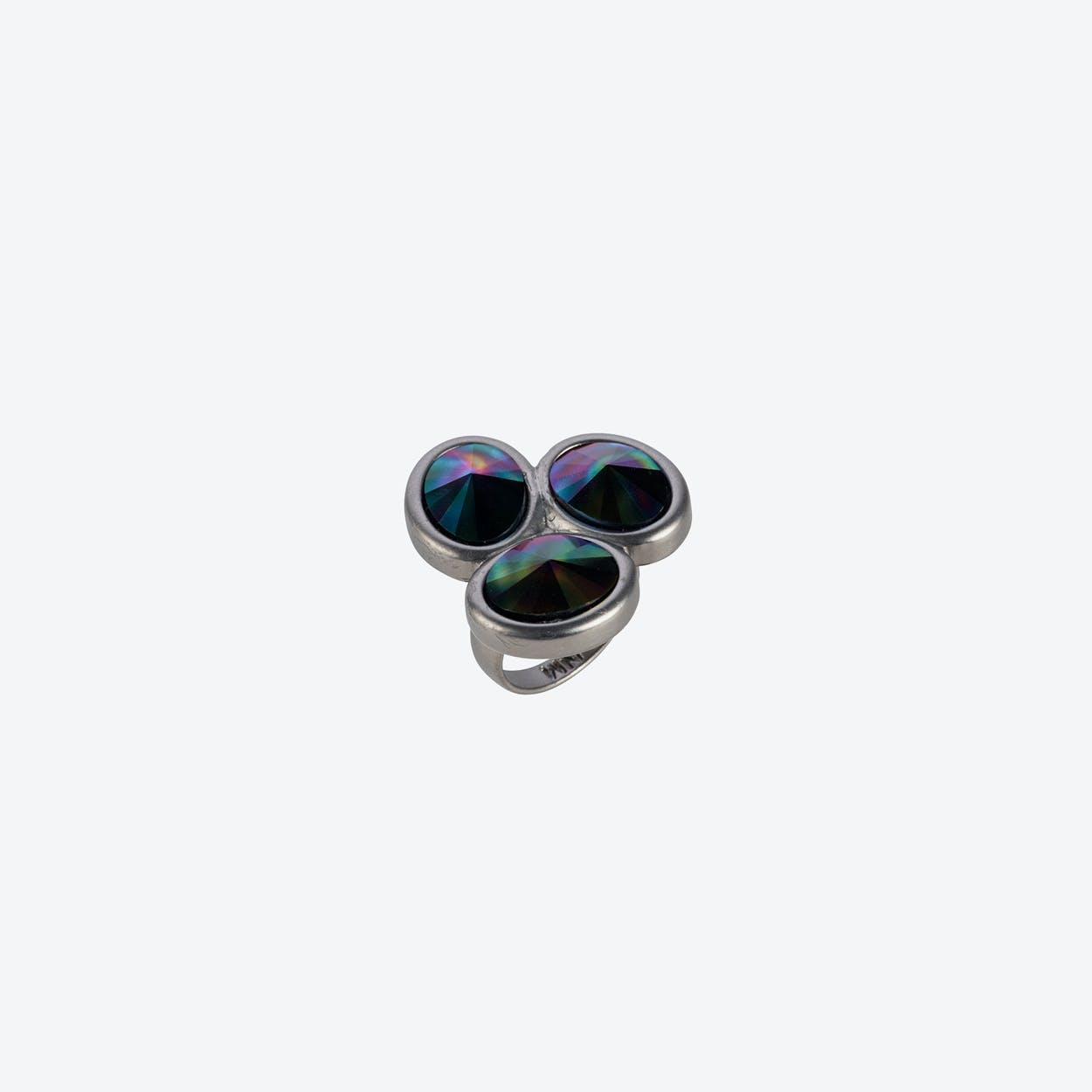 Triple Stone Oval Ring in Matte Gunmetal & Dark Rainbow