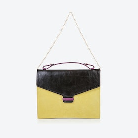 Fitzrovia Clutch in Black & Lemongrass