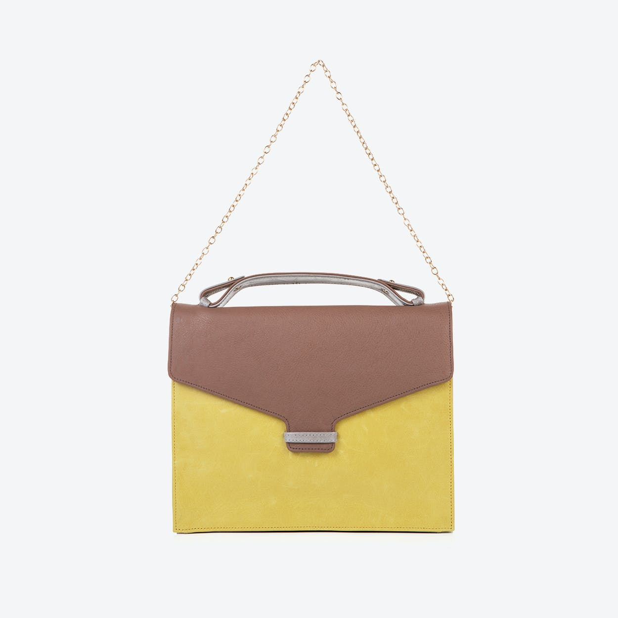 Fitzrovia Clutch in Taupe & Lemongrass