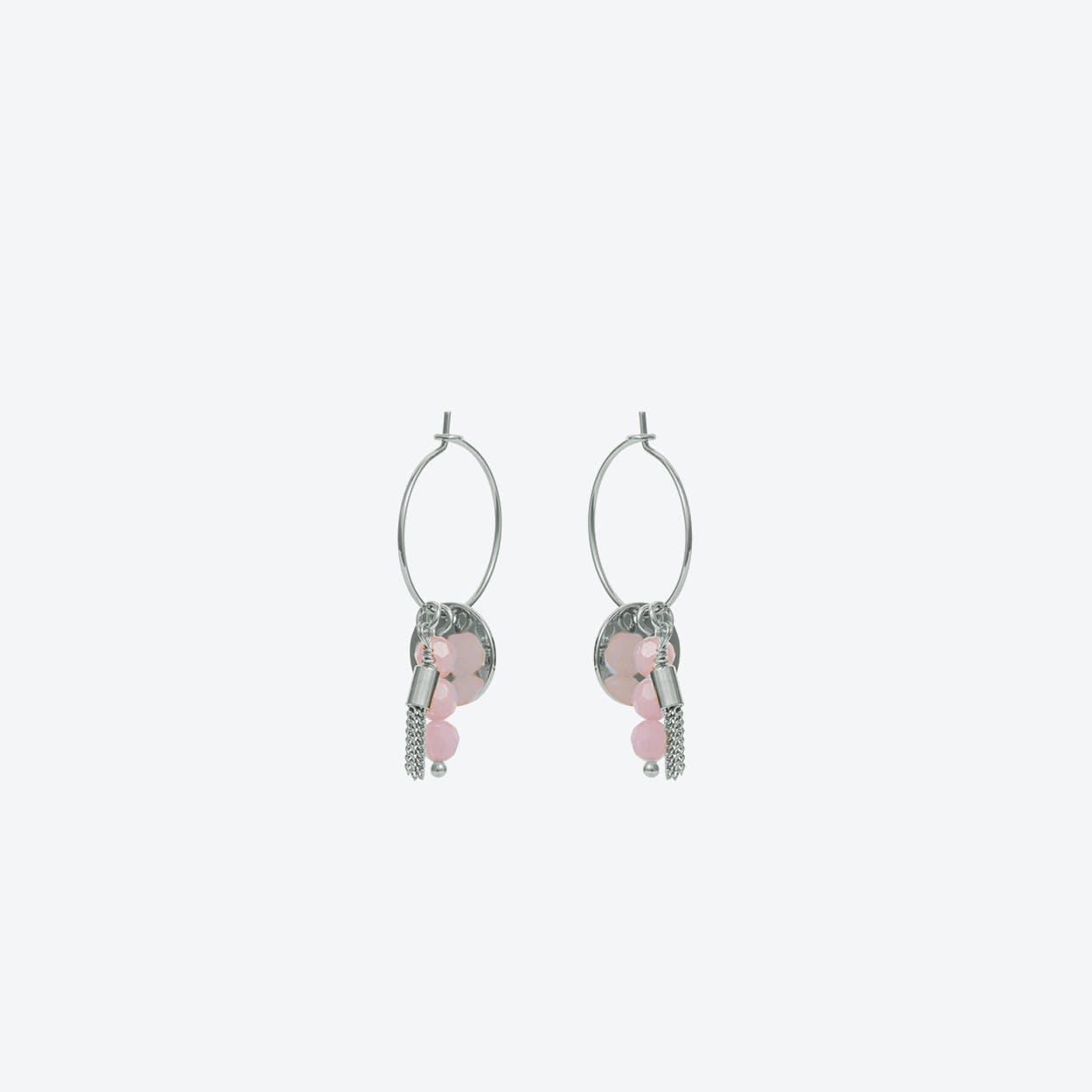 Hoop Cluster Earring in Pink Silver
