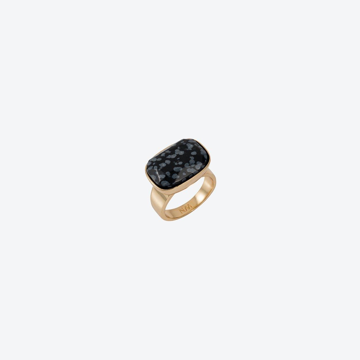 Semi-Precious H Ring in Gold Black Obsidian