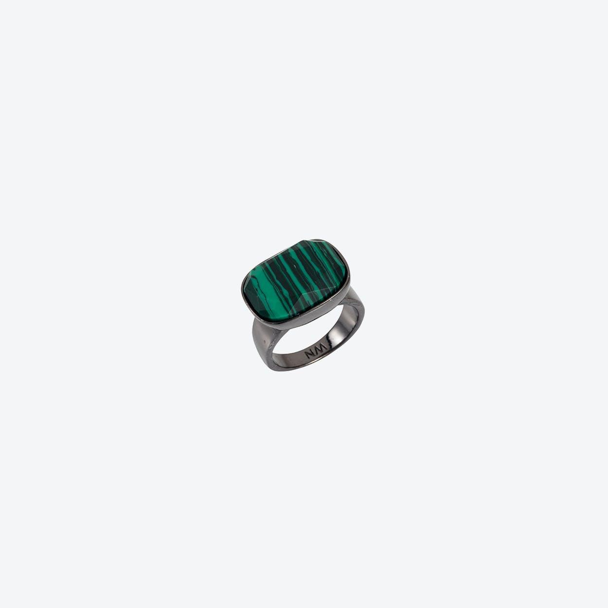 Semi-Precious H Ring in Gunmetal Malachite