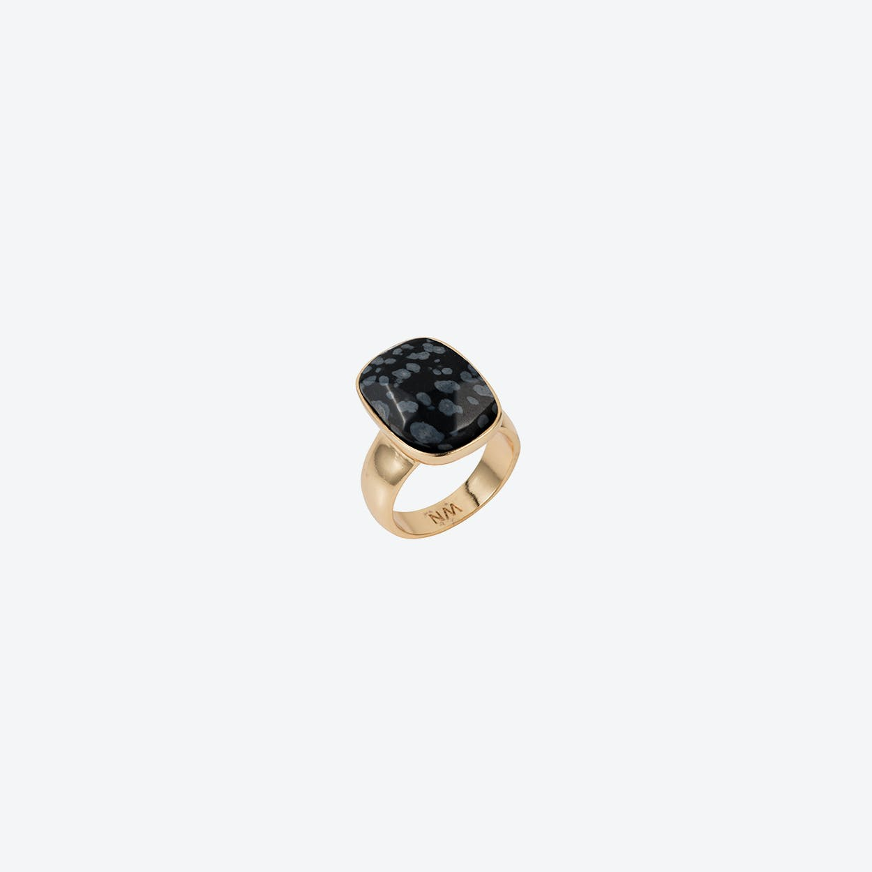 Semi-Precious V Ring in Gold Black Obsidian