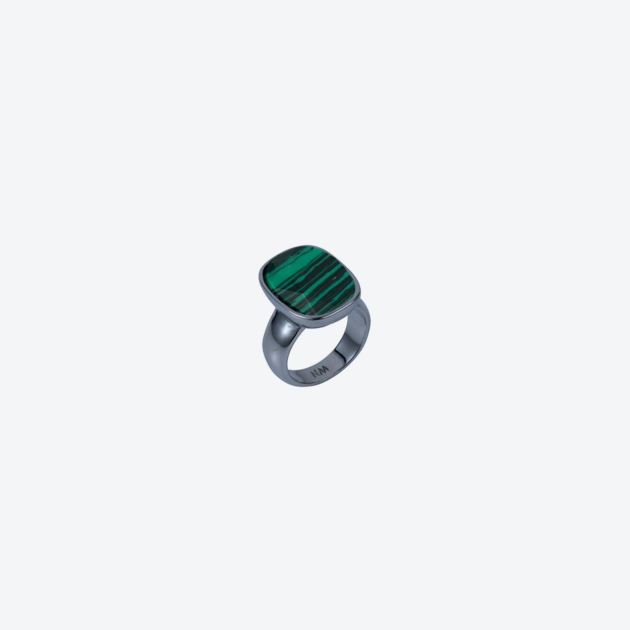 Semi-Precious V Ring in Gunmetal Malachite
