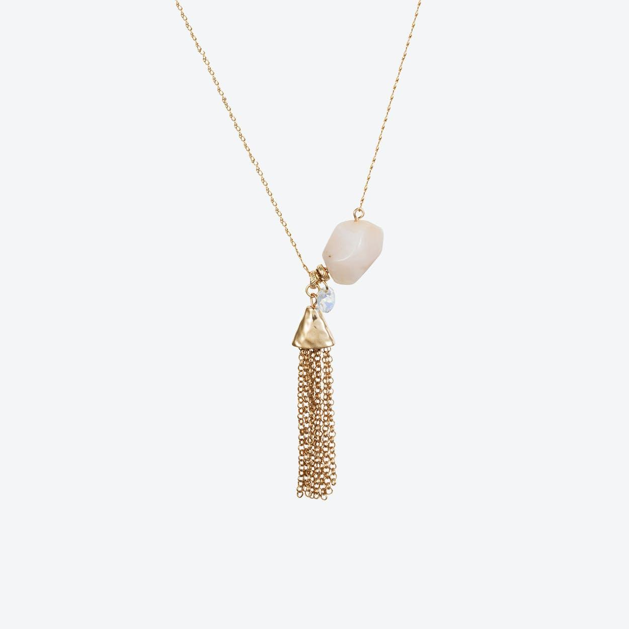 Semi-Precious Nugget Necklace in Rose Opal