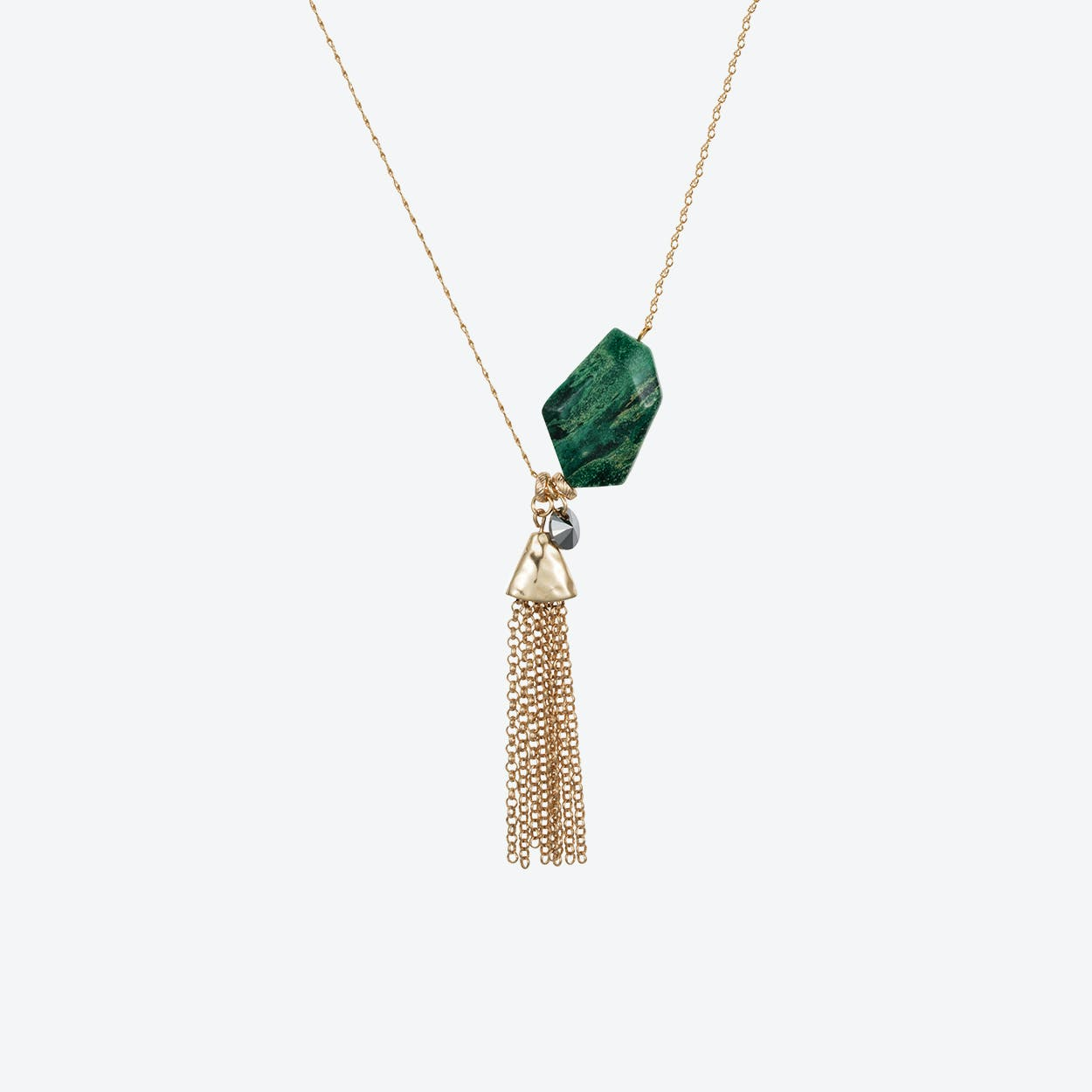 Semi-Precious Nugget Necklace in Gold Malachite