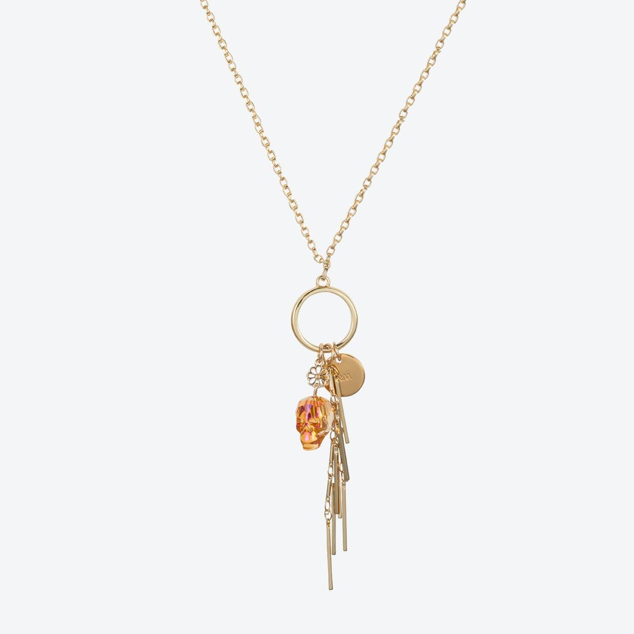 Skull Cluster Necklace in Tangerine
