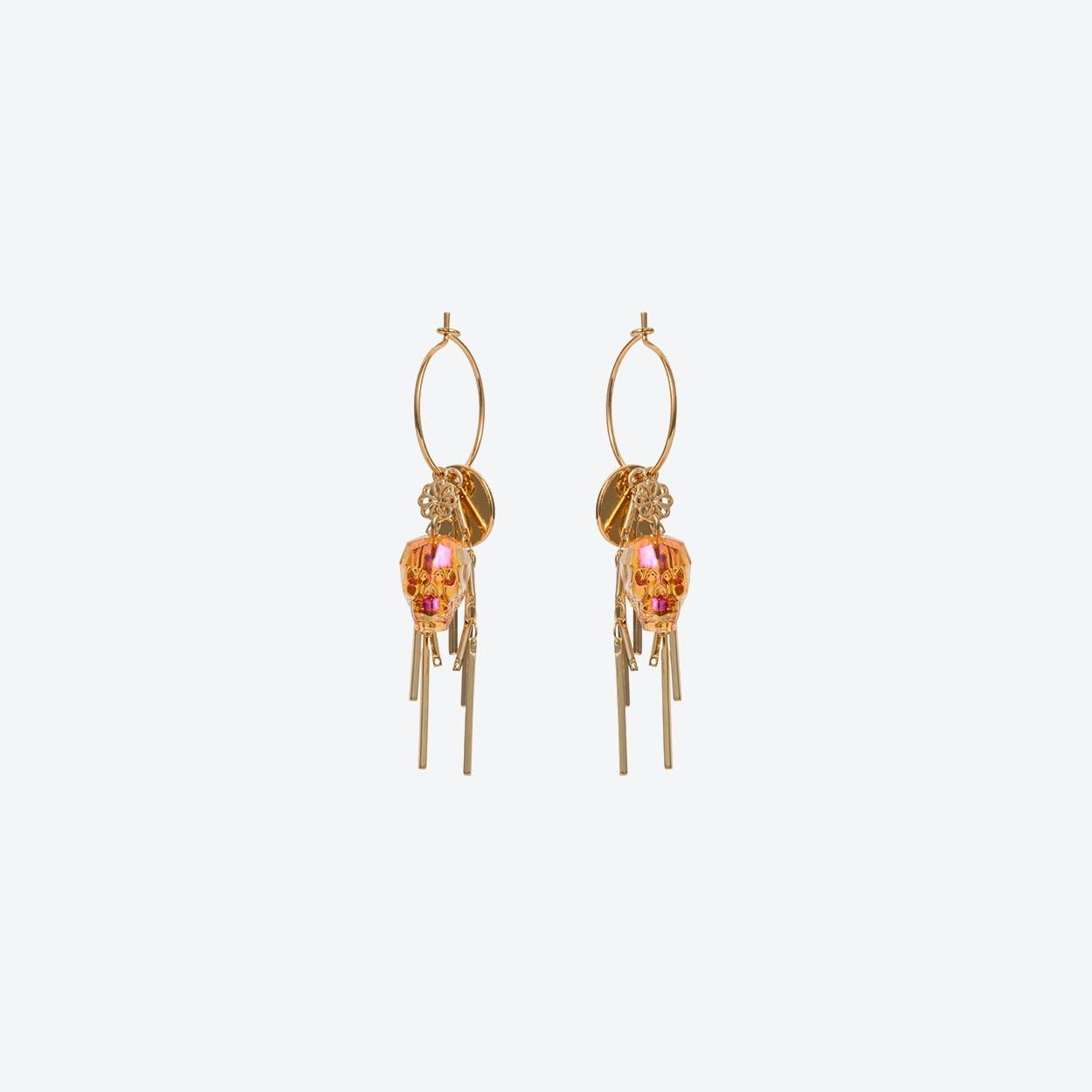 Skull Cluster Earring in Tangerine