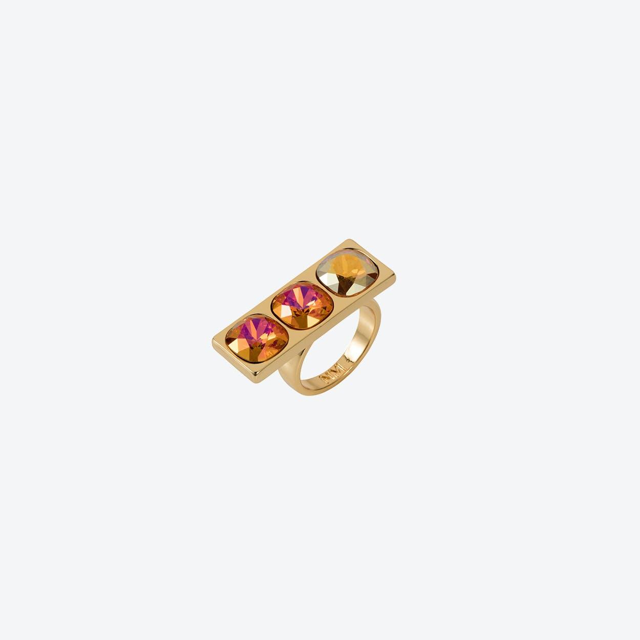 Three Stone Ring in Gold Tangerine