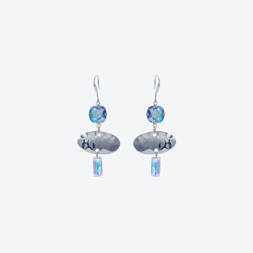 Oval Textured Earring in Blue Shimmer