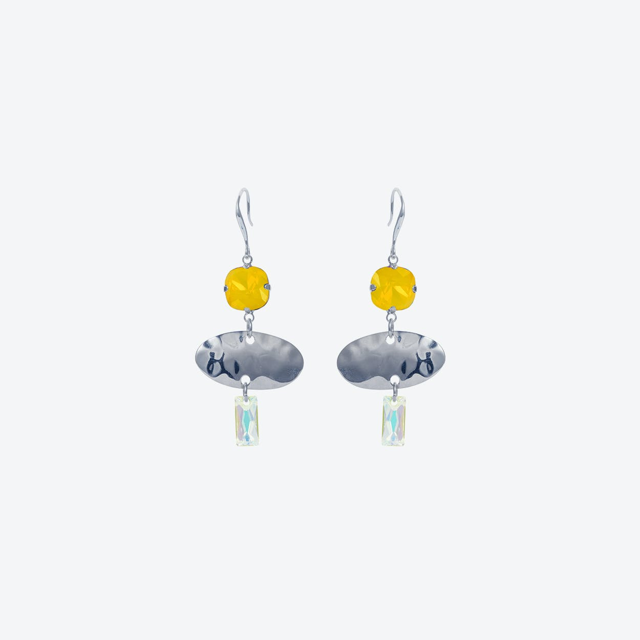 Oval Textured Earring in Silver Yellow
