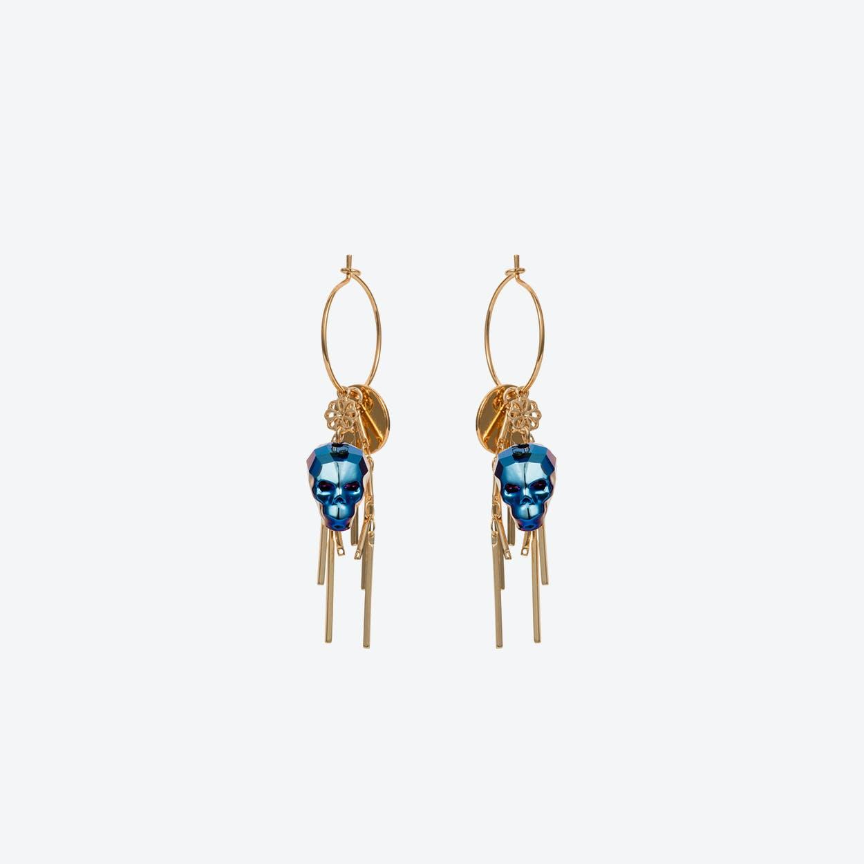 Skull Cluster Earring in Metallic Blue