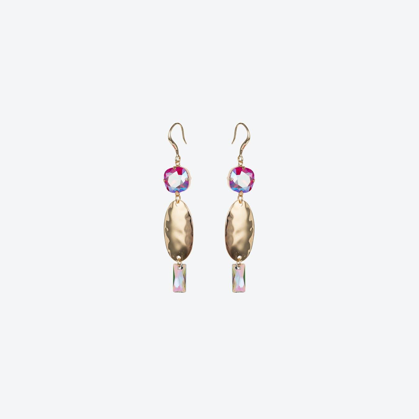 Oval Textured Earrings in Light Siam