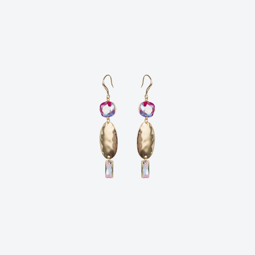 Oval Textured Earrings in Light Siam