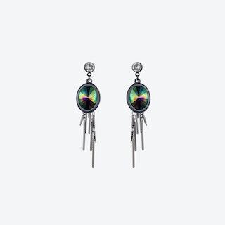 Oval Cluster Earrings in Petrol & Gunmetal