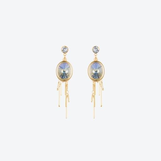 Oval Cluster Earrings in Aurora & Gold