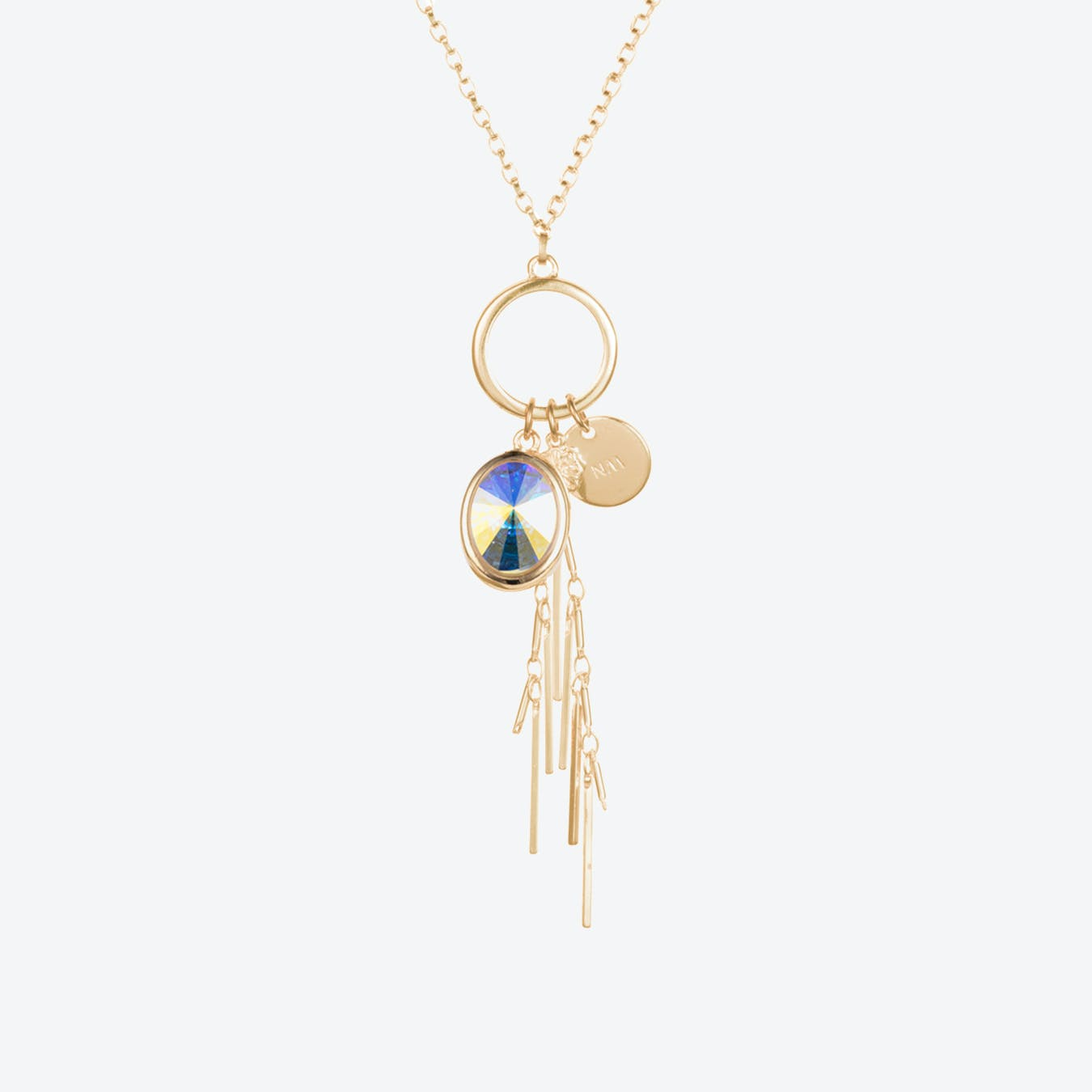 Oval Cluster Necklace in Aurora & Gold