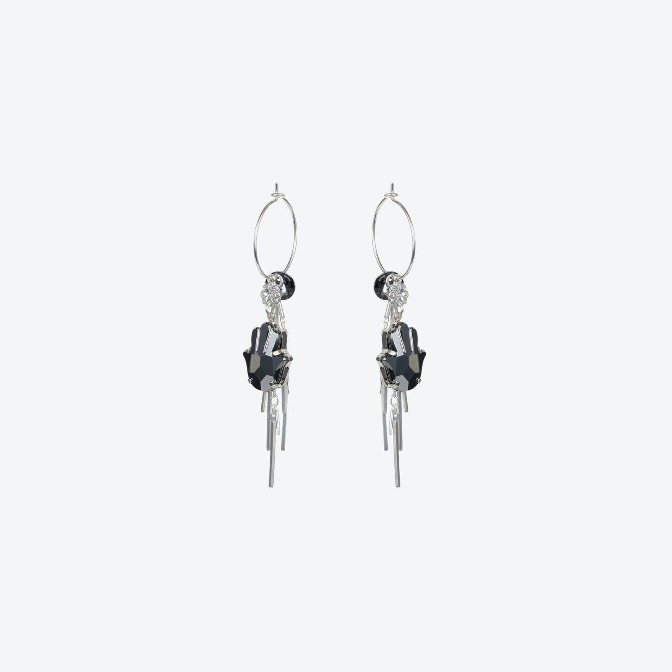 Hamsa Cluster Earring in Black Diamond & Silver