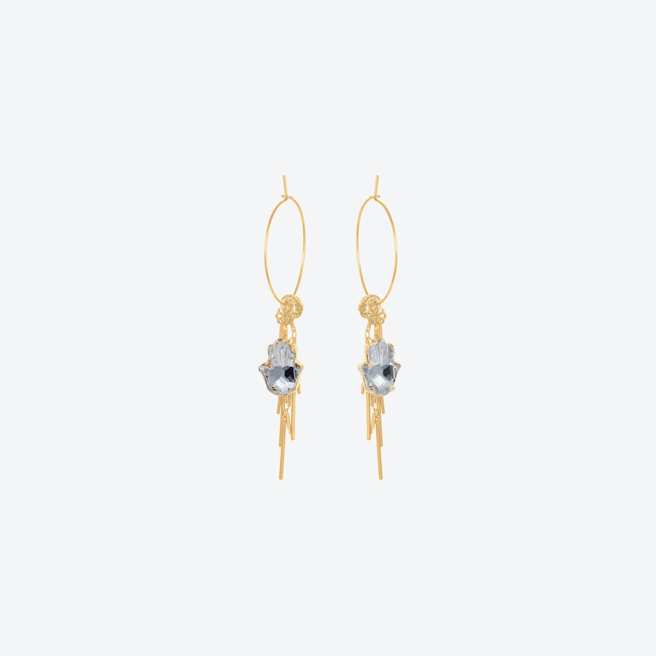 Hamsa Cluster Earrings in Crystal & Gold