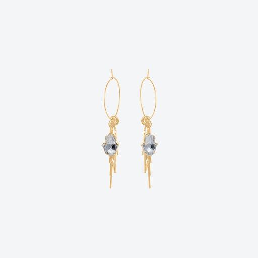 Hamsa Cluster Earrings in Crystal & Gold