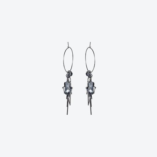 Large Hoop Hamsa Cluster Earrings in Black Diamond & Gunmetal