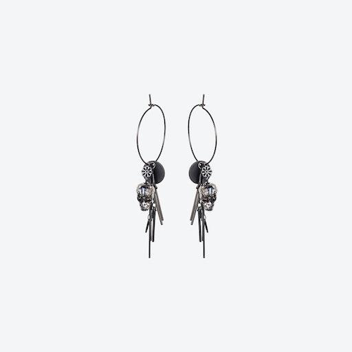 Large Hoop Skull Cluster Earrings in Black Patina