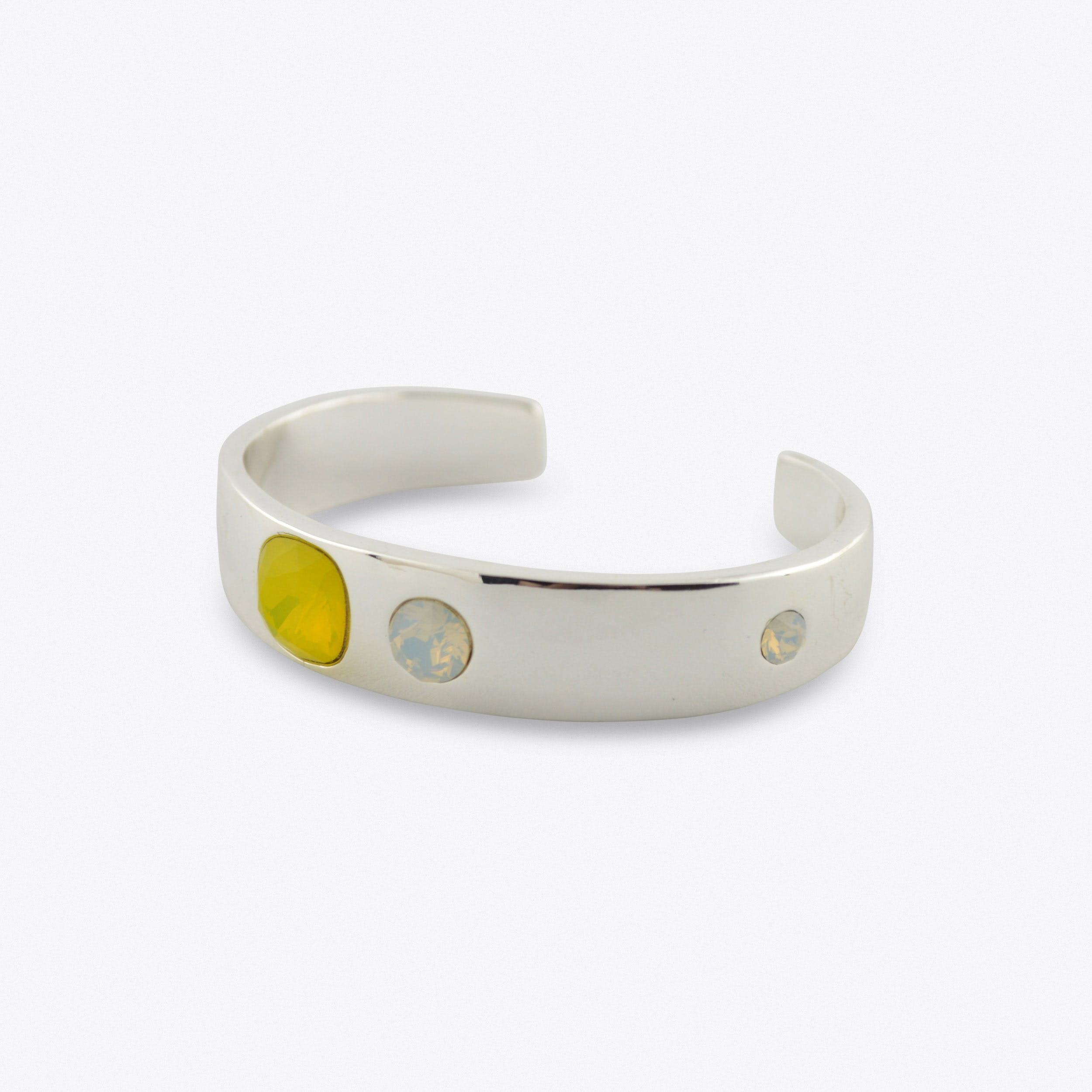 Thin Cuff With Yellow And Silver Stones