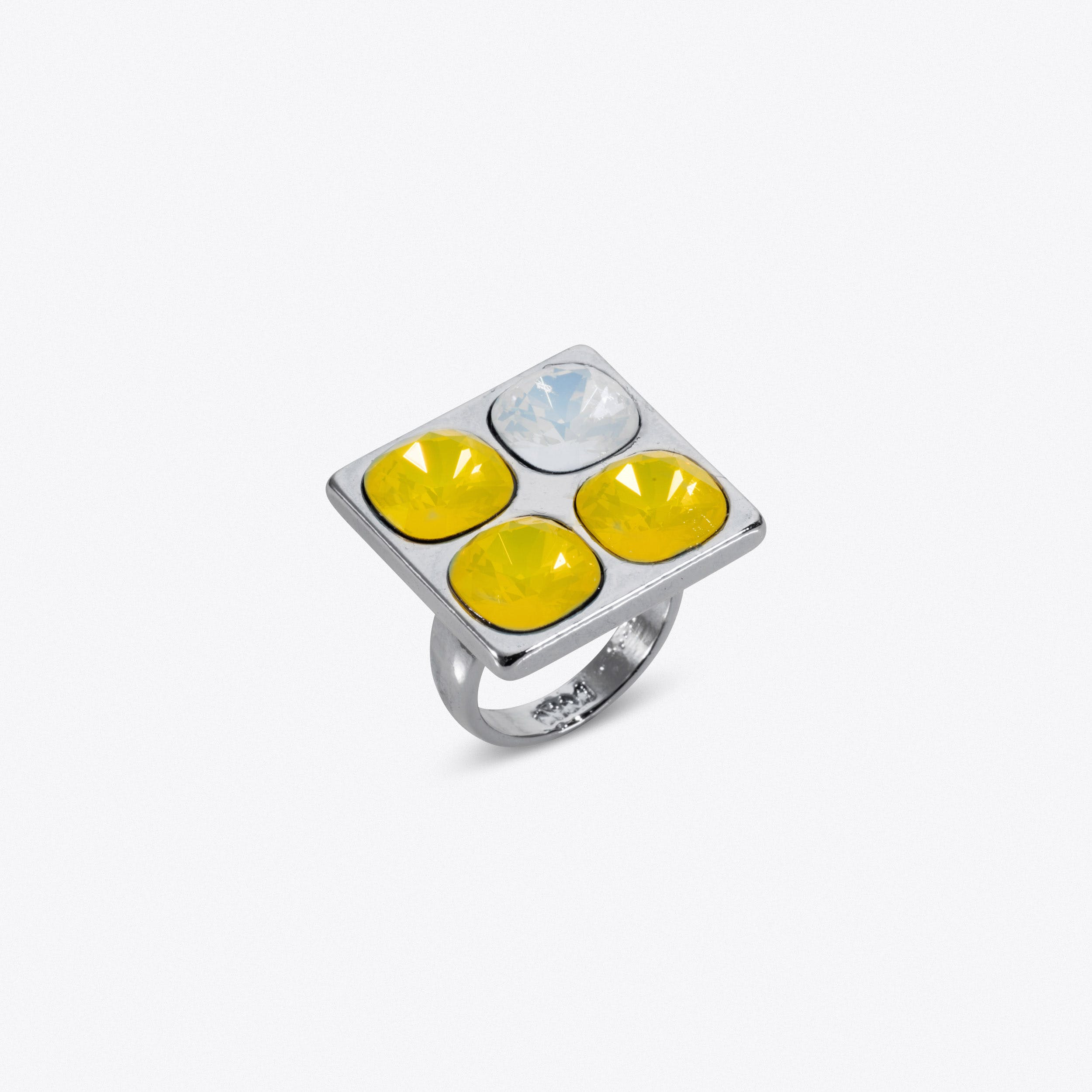 Four Stone Ring In Silver And Yellow Crystal