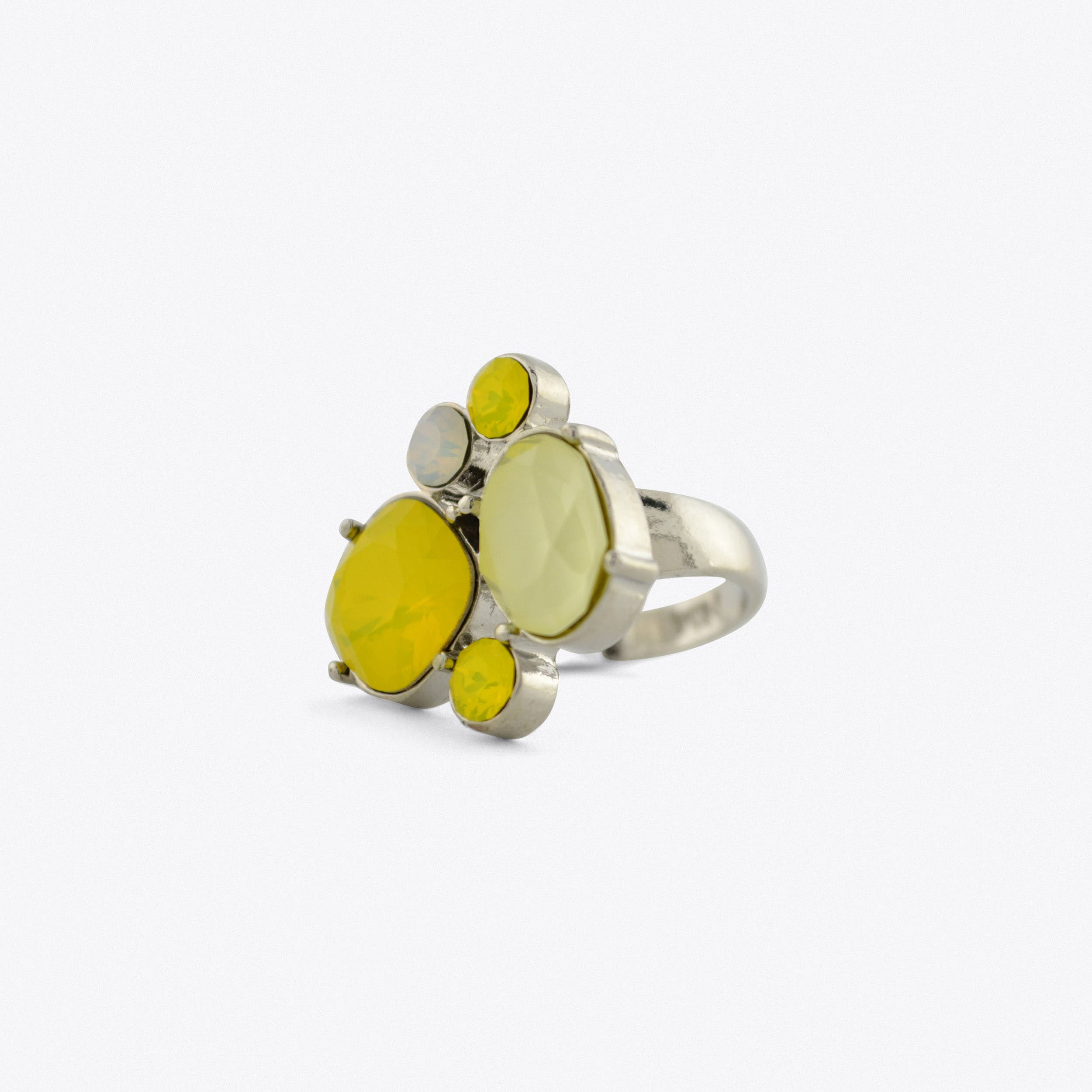 Kate Cocktail Ring With Yellow And Silver Stones