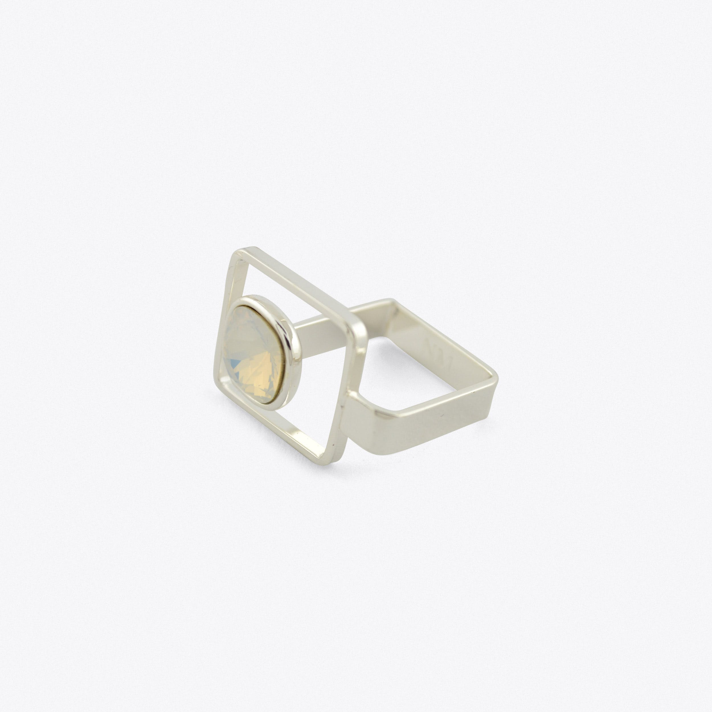 Square Frame Ring In Silver With White Stone