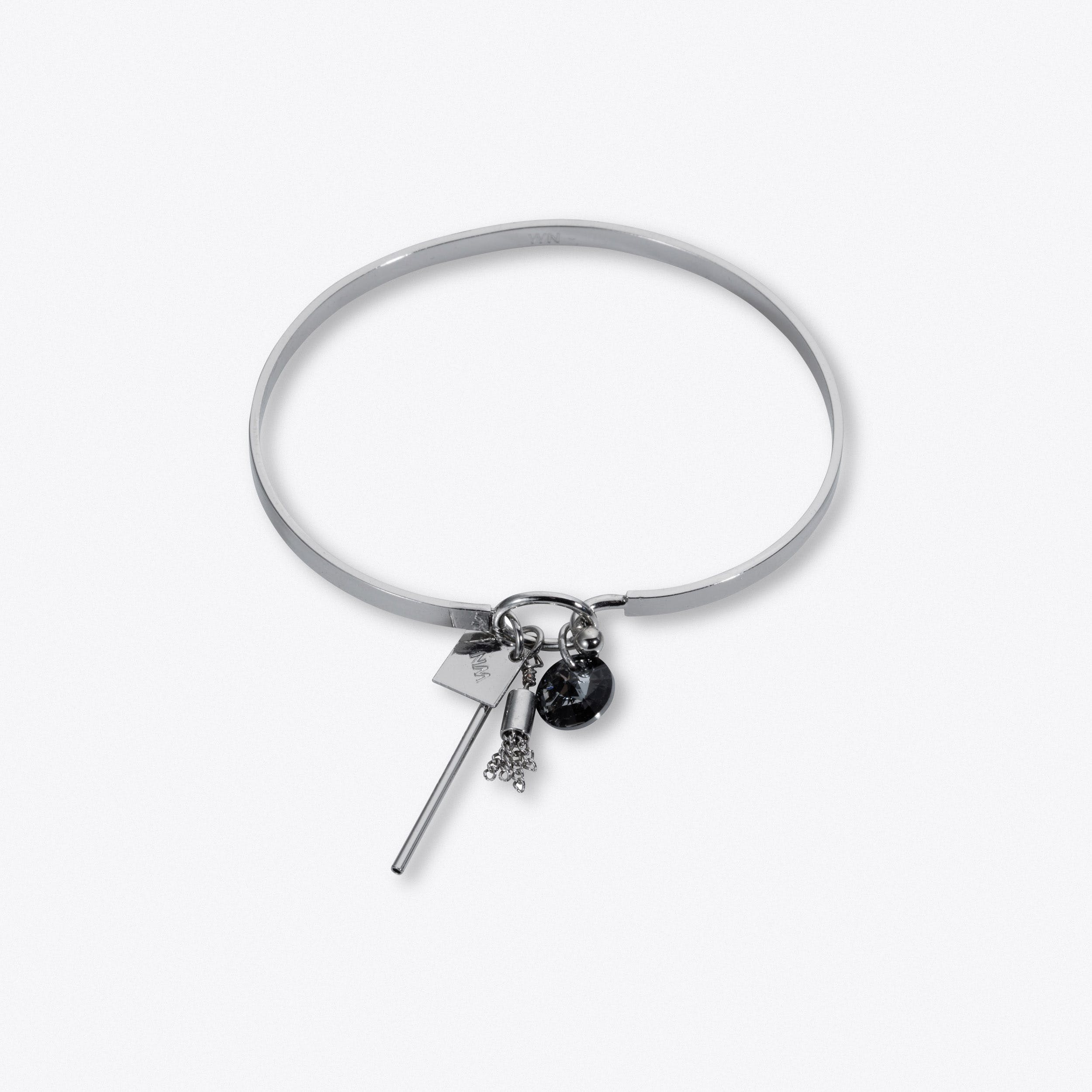 Solid Cluster Bangle In Silver