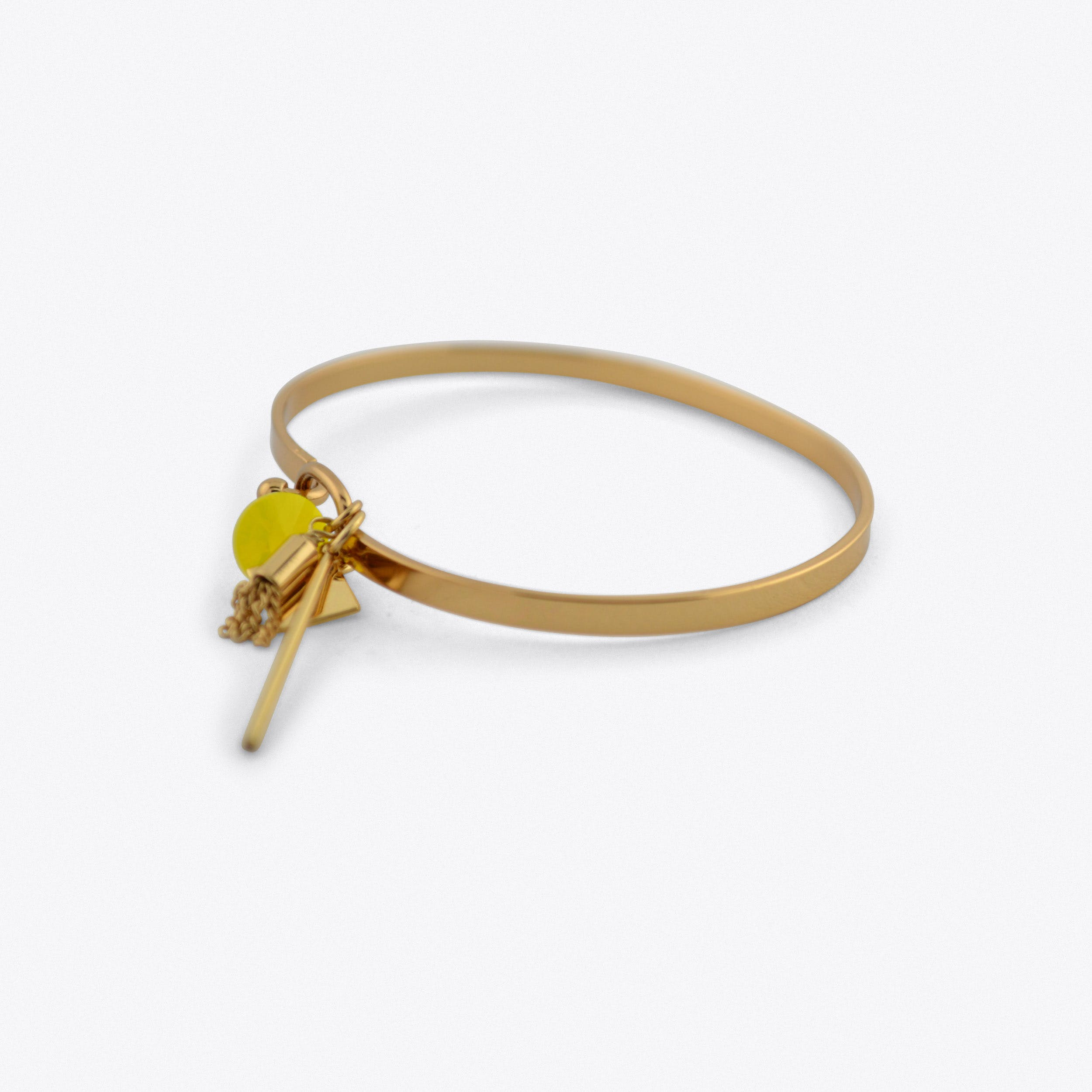 Solid Cluster Bangle In Gold With Yellow Stone