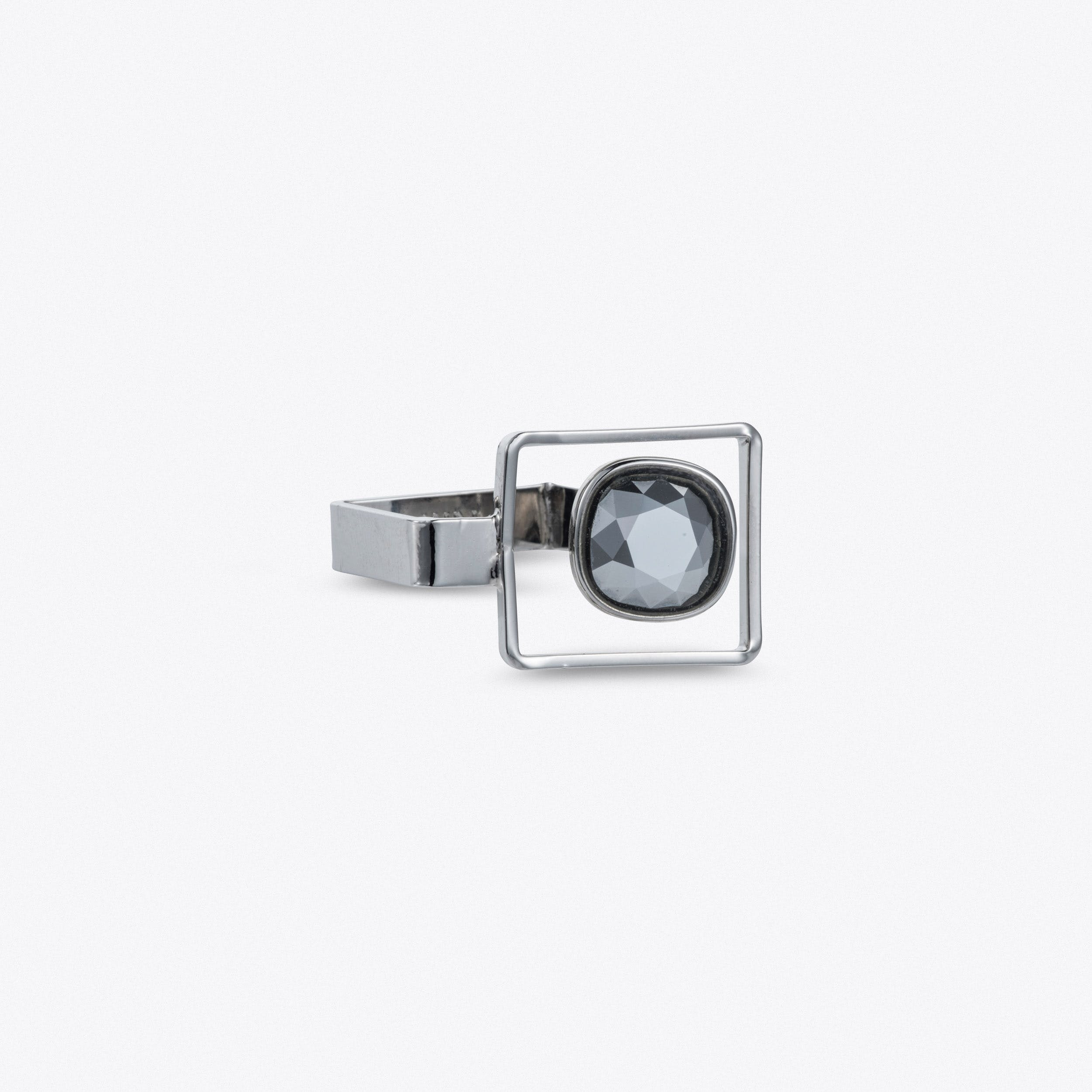 Square Frame Ring In Silver
