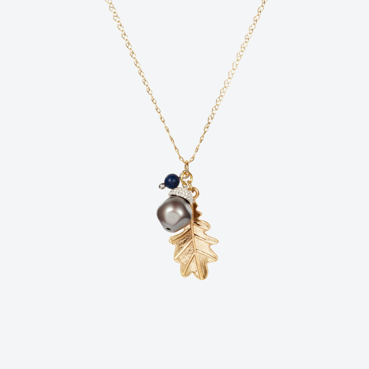Acorn Charm Necklace – Gold with Baroque Pearl & Blue Lapis