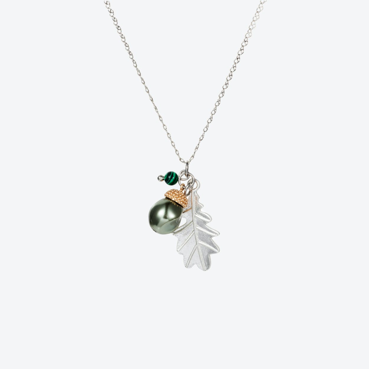 Acorn Charm Necklace – Silver with Baroque Pearl & Malachite