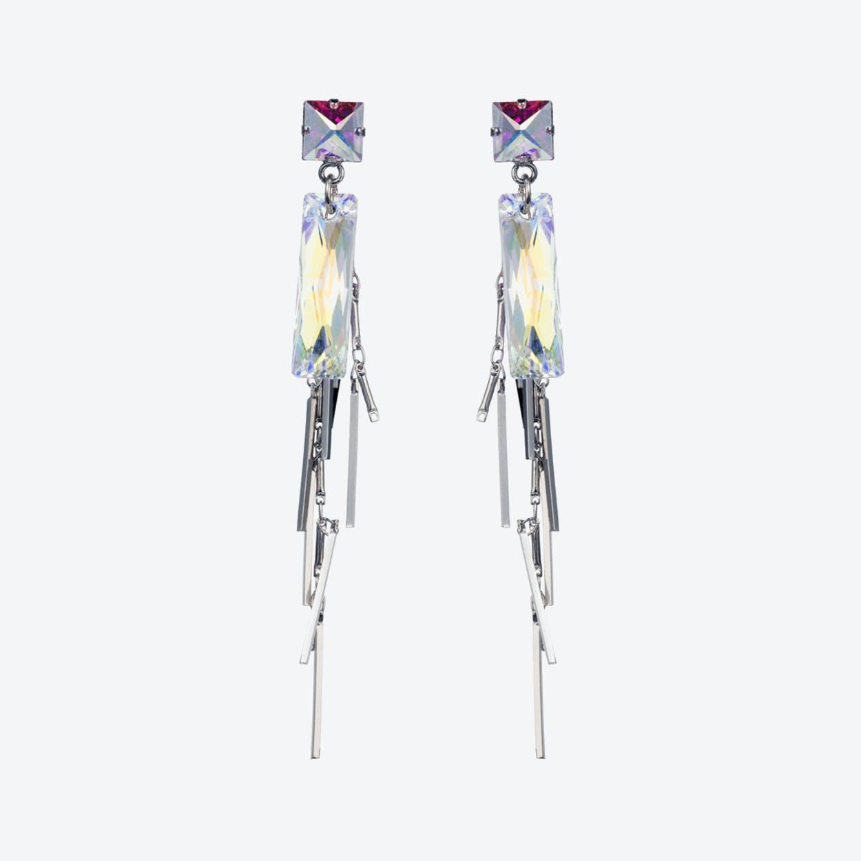 Crystal Baguette Cluster Earrings – Silver