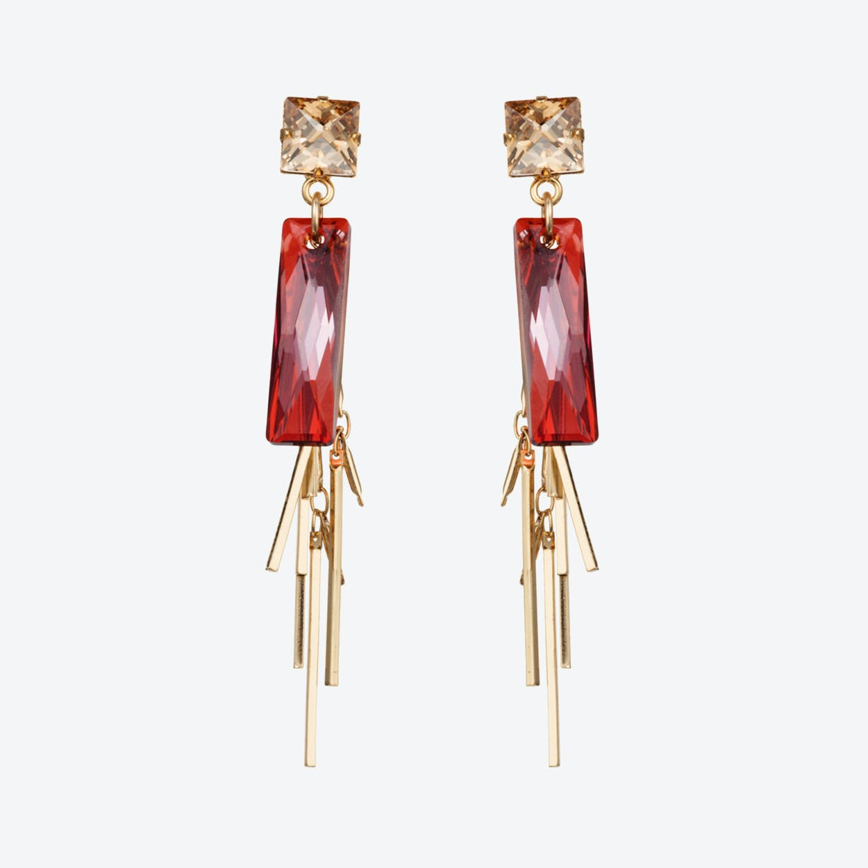 Crystal Baguette Cluster Earrings – Magma