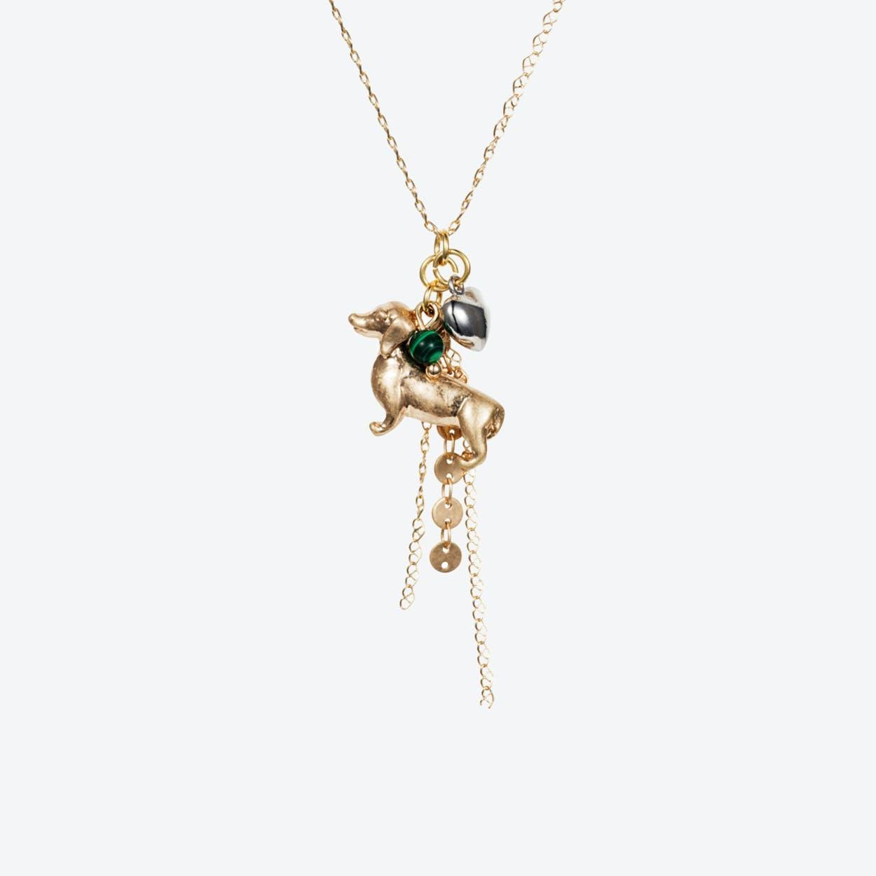 Daschund Charm Necklace – Gold with Malachite & Silver Heart