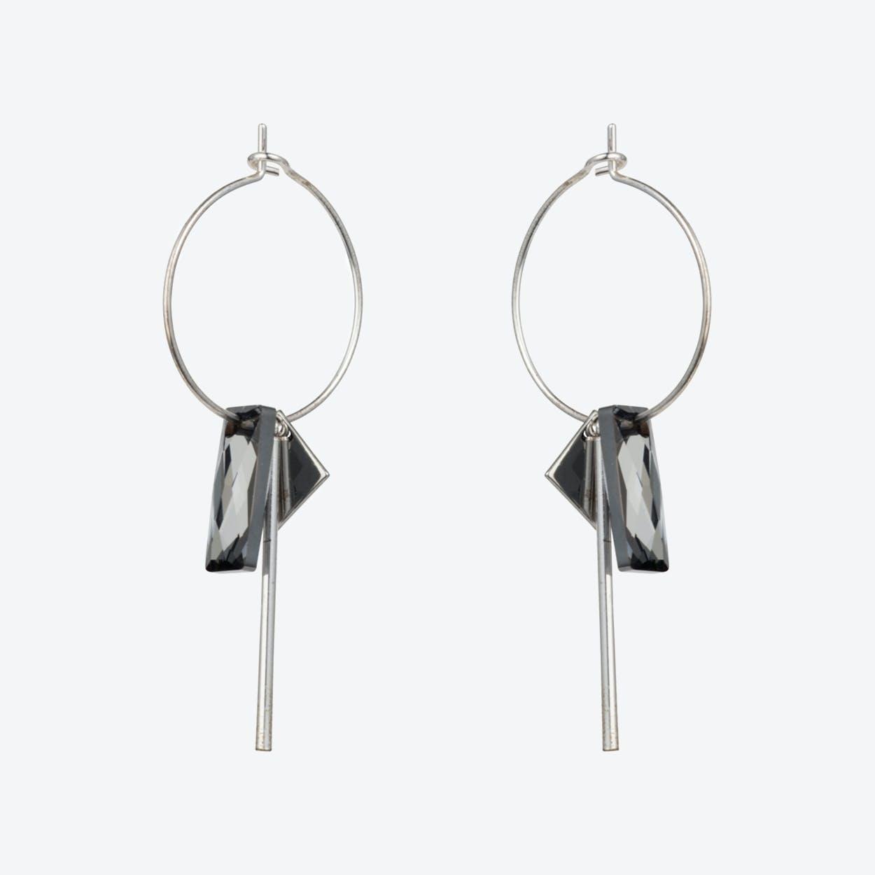 Crystal Baguette Hoop Earrings – Silver Night