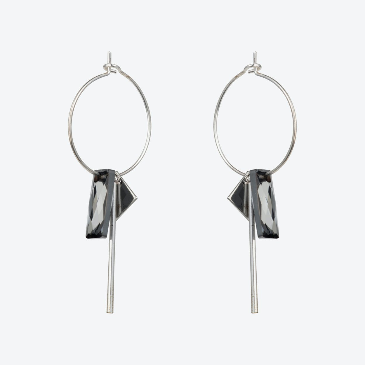 Crystal Baguette Hoop Earrings – Silver Night