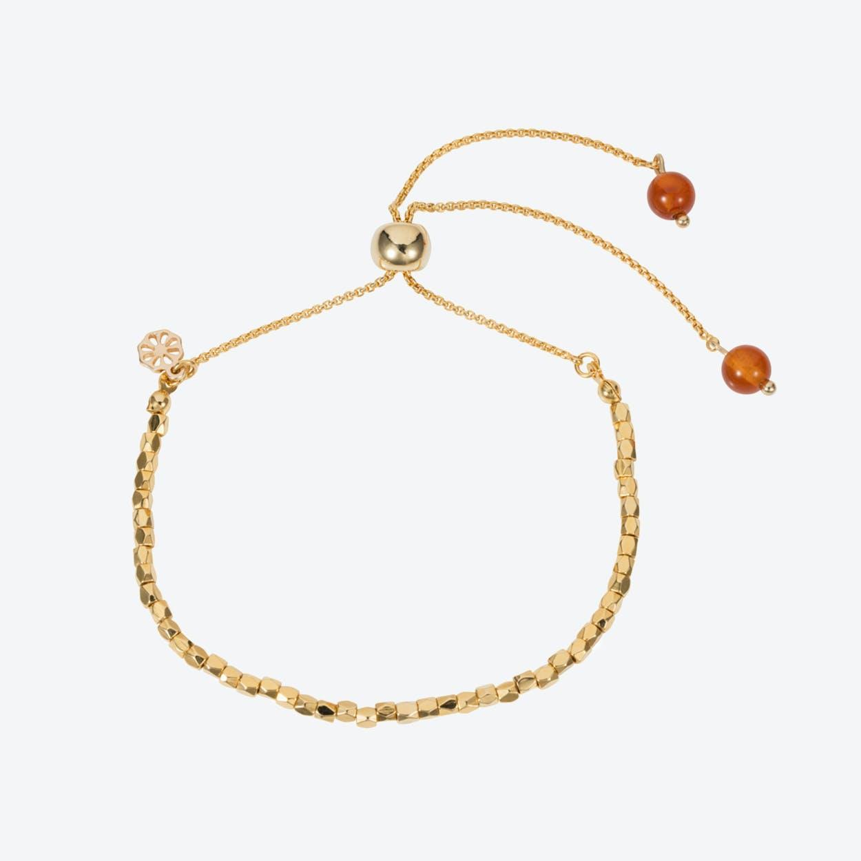 Friendship Bracelet – Gold with Orange Agate