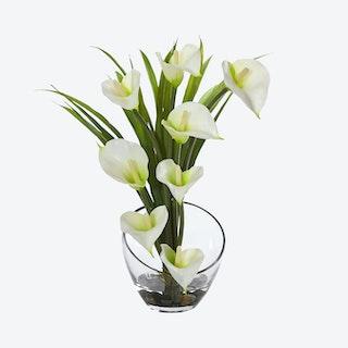Calla Lily and Grass Artificial Flower Arrangement in Vase - Cream