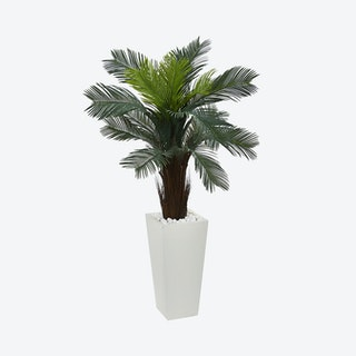 Indoor / Outdoor UV Resistant Cycas in Tower Planter - Green
