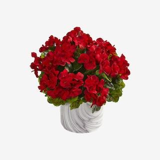 Indoor / Outdoor UV Resistant Geranium Artificial Plant in Vase - Red