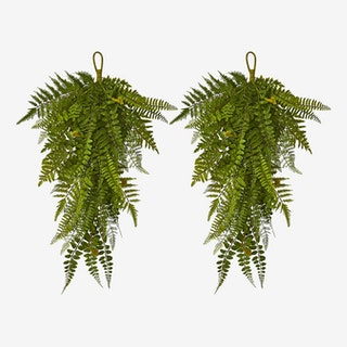 Fern Artificial Teardrops - Green - Set of 2