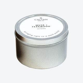 Metal Tin Soy Candle - Musk and Teakwood