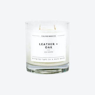 Glass Tumbler Soy Candle - Leather and Oak