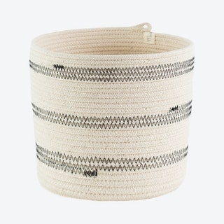 Cylinder Stitched Basket - Black - Stripes
