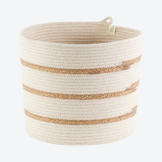 Cylinder Basket - Ivory - Jute - Stripes