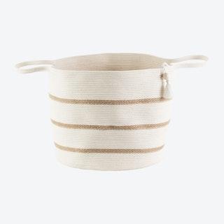 Floor Basket with Tassel - Ivory - Jute - Stripes